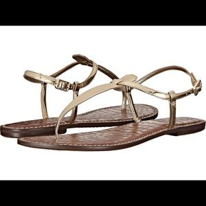 Sam Edelman Gigi Gold Leather T-Strap Sandals